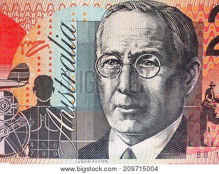 Portrait of Reverend John Flynn from Australian 20 dollar background