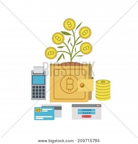 bitcoin wallet growing currency with credit cards and calculator vector illustration