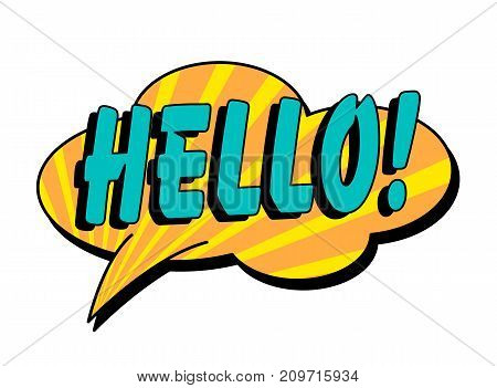 Hello speech bubble in retro style. Vector illustration isolated on white background