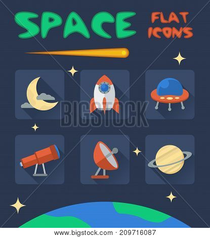 space flat icons for your creative ideas