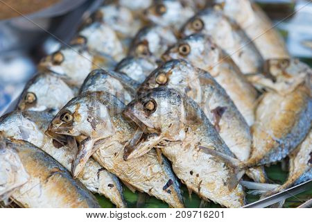 Fried shortbodied mackerel fish Thai style fried mackerel or Pla Two a traditional Thai Cuisine on side street food vendor often served