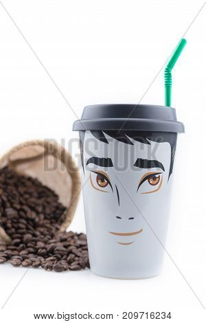 Ceramic Coffee Mug is a male drawing placed on a white background with coffee beans.
