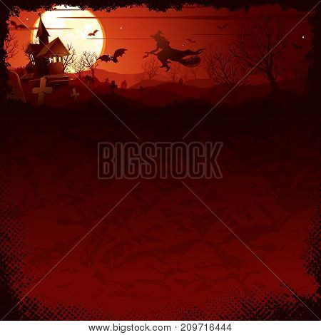 Halloween banner with illustration of witches on the moony background and scary bare trees. Vector