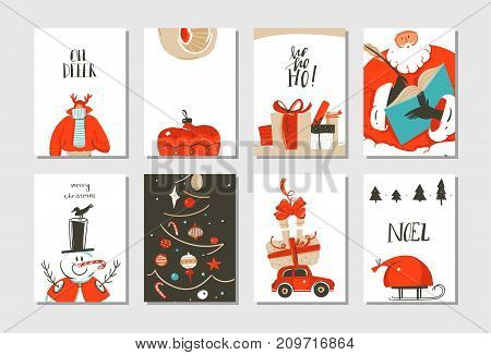 Hand drawn vector abstract fun Merry Christmas time cartoon cards collection set with cute illustrations, surprise gift boxes , Christmas tree and modern calligraphy isolated on white background.