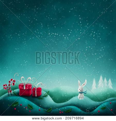 Abstract winter background with gift boxes