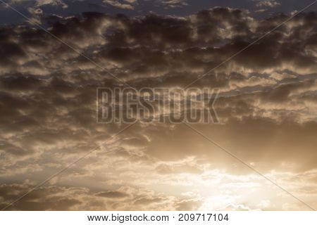 sky with clouds at dawn sun . In the park in nature