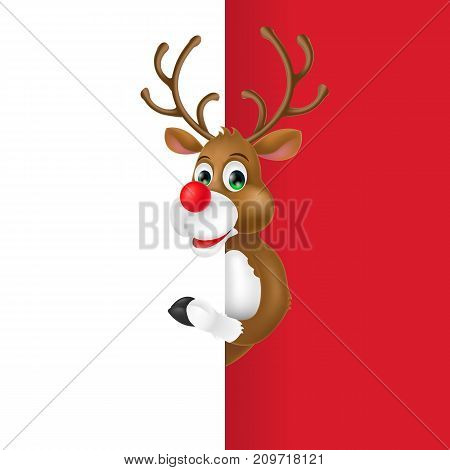 Illustration of Rudolph Christmas red-nosed reindeer. Eve, gifts, holiday. Celebration concept. Christmas design element for greeting cards, posters, leaflets and brochures.