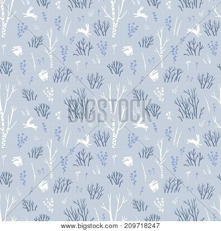 Scandinavian winter. Vector seamless pattern with northern trees and white hares. Blue fabric design.