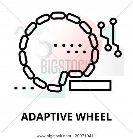 Abstract icon of future technology - adaptive wheel on color geometric shapes background for graphic and web design