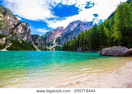 Beautiful view of the Braies lake in South Tyrol Italy