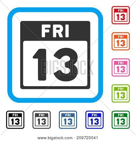 13 Friday Calendar Page icon. Flat grey iconic symbol in a light blue rounded rectangular frame. Black, gray, green, blue, red, orange color additional versions of 13 Friday Calendar Page vector.