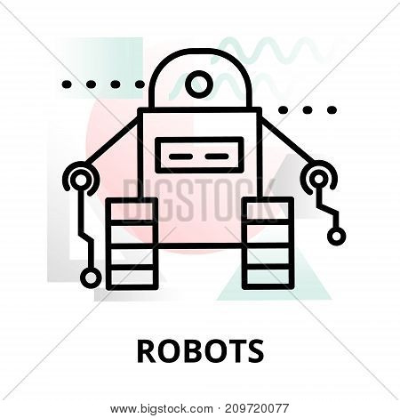 Abstract icon of future technology - robots on color geometric shapes background for graphic and web design