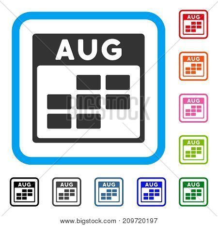 August Calendar Grid icon. Flat grey pictogram symbol in a light blue rounded squared frame. Black, gray, green, blue, red, orange color variants of August Calendar Grid vector.