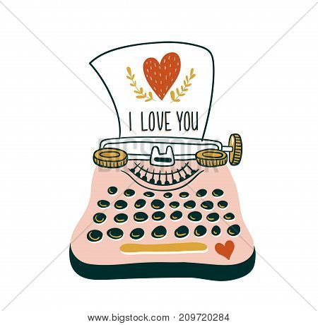 Hand drawn vector card with typewriter and heart. Scandinavian style illustration love design for valentine's day.