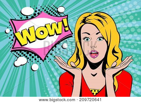 Wow blond girl face with speech bubble in pop art retro comic book style vector illustration