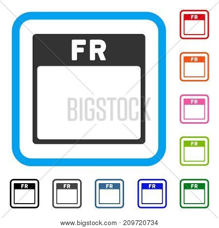 Friday Calendar Page icon. Flat grey pictogram symbol in a light blue rounded squared frame. Black, gray, green, blue, red, orange color versions of Friday Calendar Page vector.