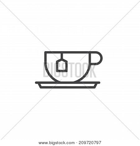 Tea cup with tea bag line icon, outline vector sign, linear style pictogram isolated on white. Symbol, logo illustration. Editable stroke