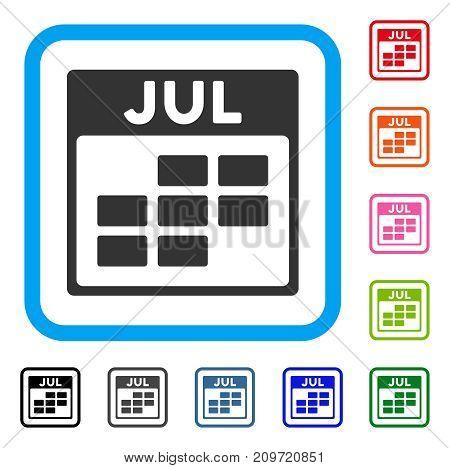 July Calendar Grid icon. Flat gray pictogram symbol in a light blue rounded squared frame. Black, gray, green, blue, red, orange color variants of July Calendar Grid vector.