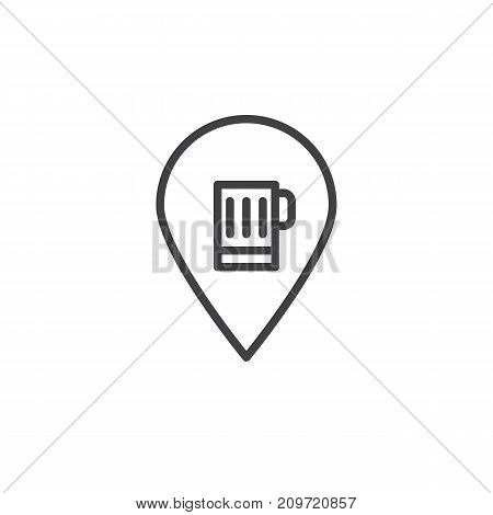 Pub location and beer mug sign line icon, outline vector sign, linear style pictogram isolated on white. Symbol, logo illustration. Editable stroke