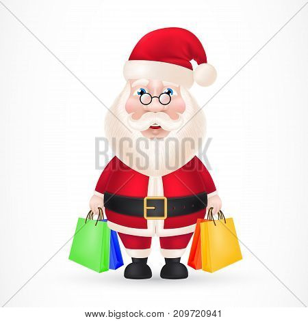 Illustration of Santa Claus carrying shopping bags. Holiday, shopping, gifts. Celebration concept. Christmas design element for greeting cards, posters, leaflets and brochures