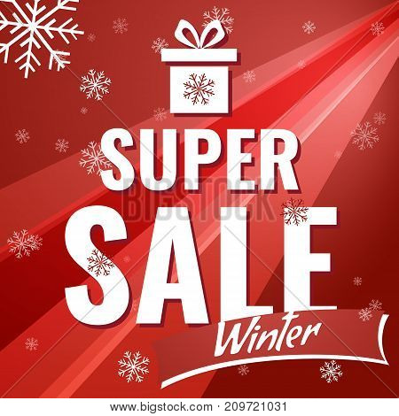 Sale banner on red background with snowflakes. Text - super sale. Sale vector. Sale new year poster.