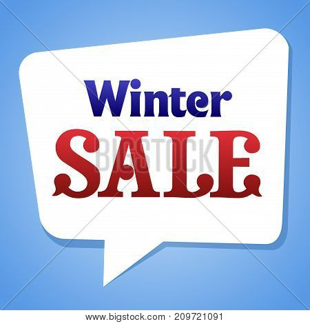 Lettering winter sale in bubble. Sale Sticker template. Winter Sale paper banner. Web sticker.
