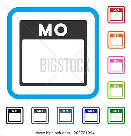 Monday Calendar Page icon. Flat gray pictogram symbol in a light blue rounded squared frame. Black, gray, green, blue, red, orange color additional versions of Monday Calendar Page vector.