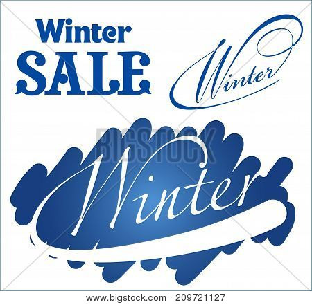 Set Sale typographic. Lettering winter sale. Calligraphy isolated on white background. Sale vector isolated.