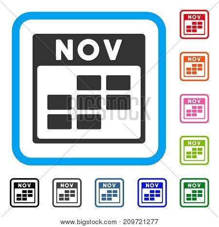 November Calendar Grid icon. Flat gray iconic symbol inside a light blue rounded square. Black, gray, green, blue, red, orange color additional versions of November Calendar Grid vector.
