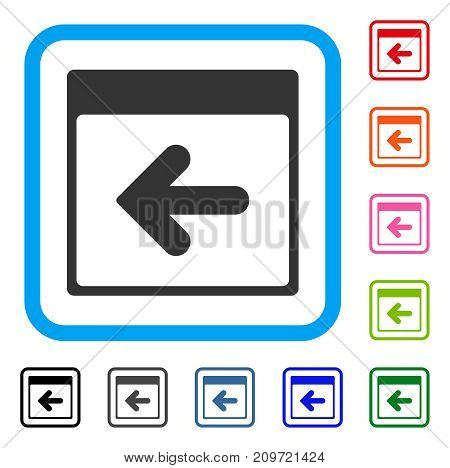 Previous Calendar Day icon. Flat gray iconic symbol in a light blue rounded rectangle. Black, gray, green, blue, red, orange color variants of Previous Calendar Day vector.