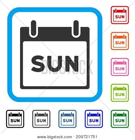 Sunday Calendar Page icon. Flat grey iconic symbol in a light blue rounded rectangle. Black, gray, green, blue, red, orange color versions of Sunday Calendar Page vector. Designed for web and app UI.