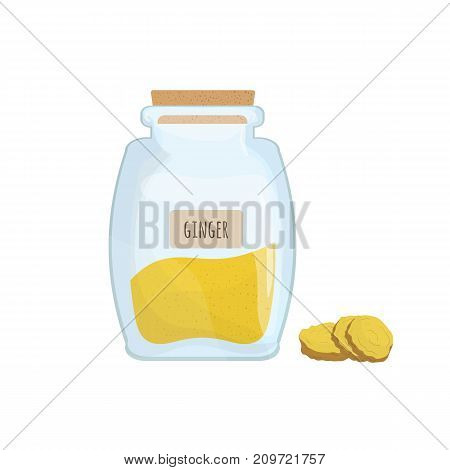 Ground ginger stored in clear jar isolated on white background. Piquant condiment, food spice, cooking ingredient in transparent kitchen container. Colored vector illustration