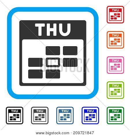Thursday Calendar Grid icon. Flat grey iconic symbol in a light blue rounded frame. Black, gray, green, blue, red, orange color versions of Thursday Calendar Grid vector.