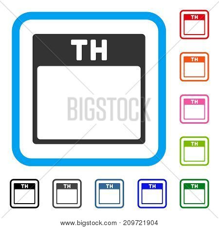 Thursday Calendar Page icon. Flat gray pictogram symbol in a light blue rounded squared frame. Black, gray, green, blue, red, orange color variants of Thursday Calendar Page vector.