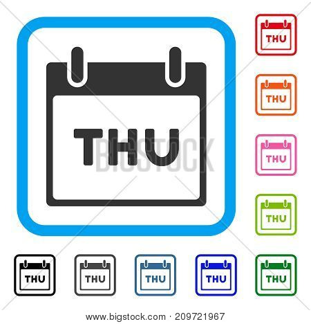 Thursday Calendar Page icon. Flat grey iconic symbol inside a light blue rounded frame. Black, gray, green, blue, red, orange color variants of Thursday Calendar Page vector.