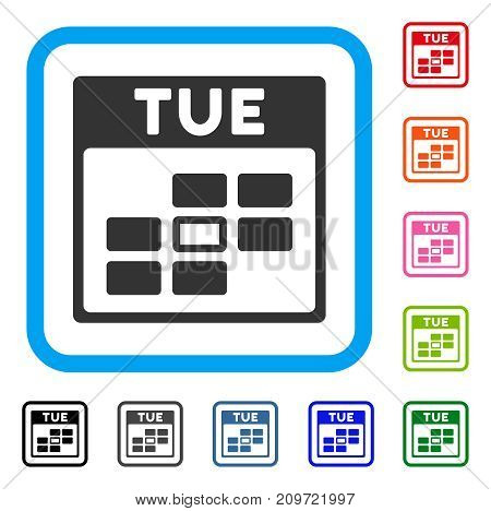 Tuesday Calendar Grid icon. Flat gray iconic symbol inside a light blue rounded rectangular frame. Black, gray, green, blue, red, orange color additional versions of Tuesday Calendar Grid vector.