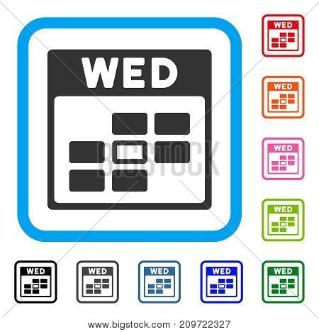 Wednesday Calendar Grid icon. Flat grey iconic symbol in a light blue rounded rectangular frame. Black, gray, green, blue, red, orange color variants of Wednesday Calendar Grid vector.
