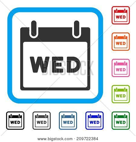 Wednesday Calendar Page icon. Flat gray iconic symbol in a light blue rounded square. Black, gray, green, blue, red, orange color variants of Wednesday Calendar Page vector.