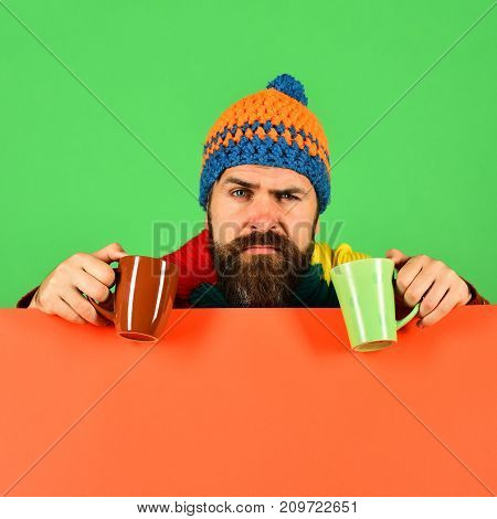 Caffeinated Beverages Idea. Hipster With Beard And Tricky Face