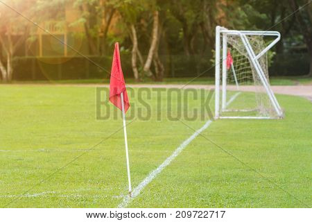 outdoor green soccer field showing red corner flag and goal with warm color lens flare