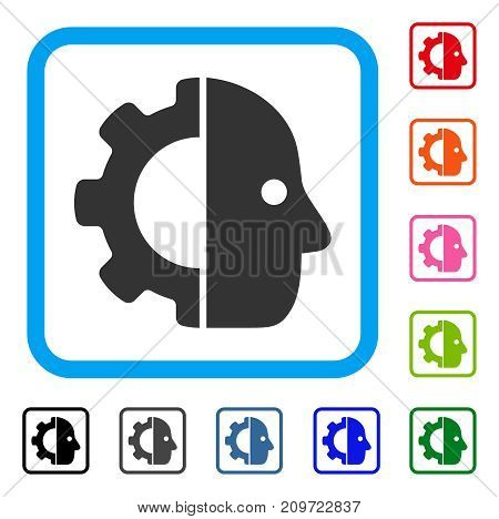 Cyborg Gear icon. Flat gray pictogram symbol inside a light blue rounded rectangular frame. Black, gray, green, blue, red, orange color additional versions of Cyborg Gear vector.