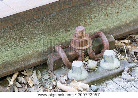 Closeup Of A Vintage Train Track