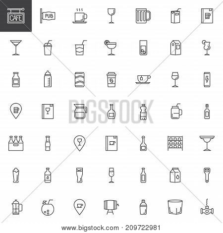 Cafe, bar drinks and beverages line icons set, outline vector symbol collection, linear style pictogram pack. Signs, logo illustration. Set includes icons as cocktails, pub, menu, champagne, corkscrew