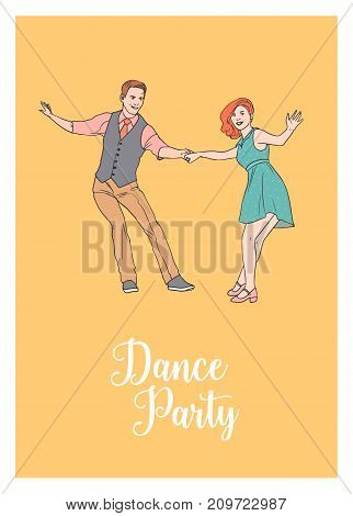 Poster template with pair of young man and woman dressed in retro clothing dancing Lindy hop. Couple of dancers demonstrating swing element. Vector illustration for dance party invitation or flyer