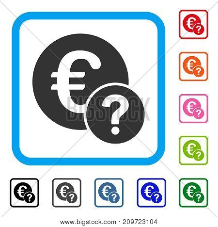 Euro Status icon. Flat gray pictogram symbol inside a light blue rounded squared frame. Black, gray, green, blue, red, orange color variants of Euro Status vector. Designed for web and software UI.
