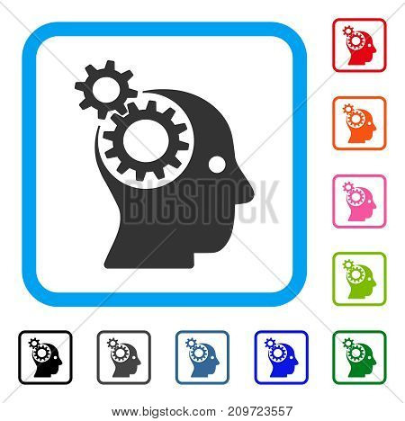 Head Gears icon. Flat gray pictogram symbol in a light blue rounded rectangle. Black, gray, green, blue, red, orange color additional versions of Head Gears vector. Designed for web and app UI.