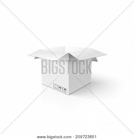 White 3D Box. Clean Opened Carton Package. Mockup Template For Your Product.
