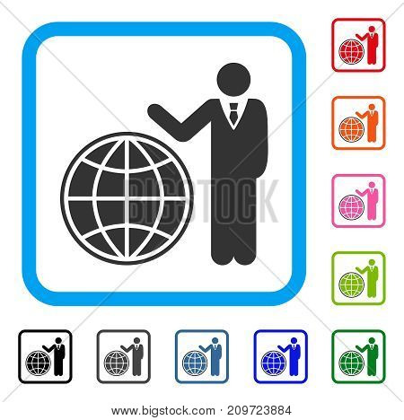 Planetary Manager icon. Flat grey pictogram symbol in a light blue rounded rectangle. Black, gray, green, blue, red, orange color additional versions of Planetary Manager vector.