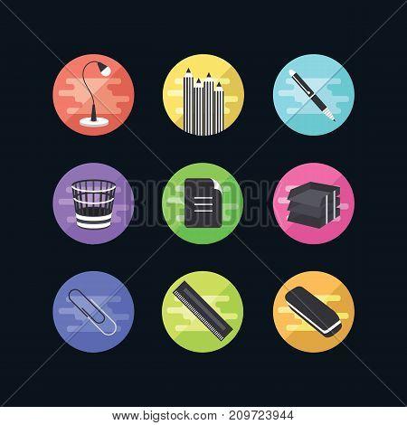 Flat Icons Set. 9 Office Illustration. Web Advantages For Your Site.