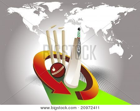 abstract grey map background with cricket supplies and green arrow